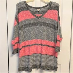 Sonoma Sweater Size 1X Batwing Sleeves Striped